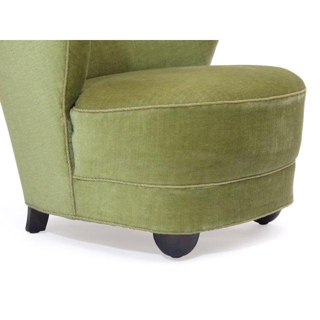 1930s Danish Slipper Chair in Original Green Mohair For Sale - Image 10 of 11