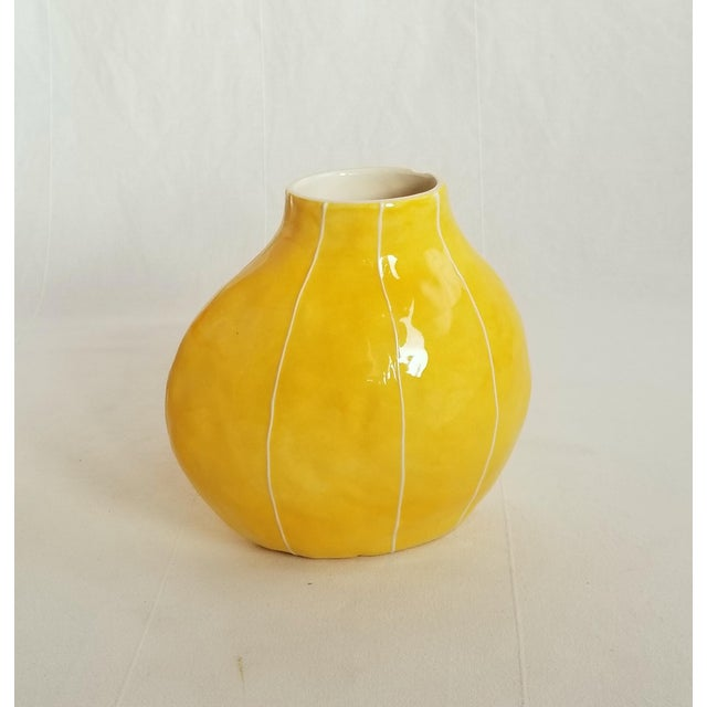 2010s Pod Shape Yellow Vase For Sale - Image 5 of 6
