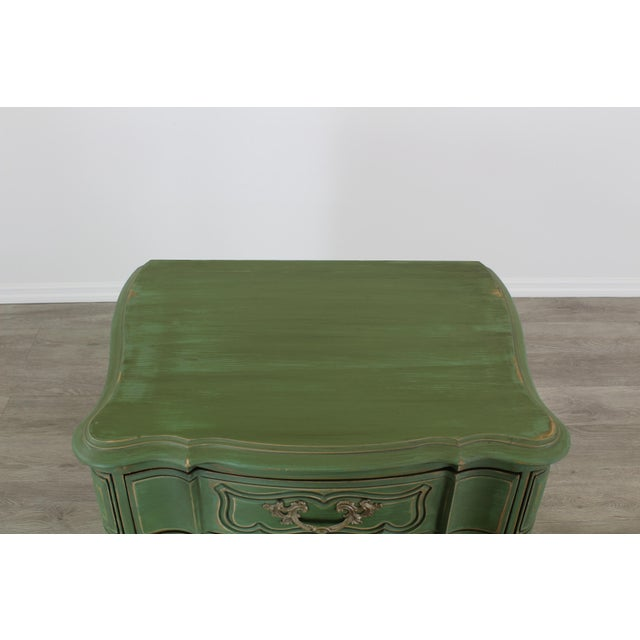 Pair of French Provincial Nightstands, Mid Century Nightstands, Green Nightstand, Shabby Chic Nightstands For Sale - Image 9 of 11