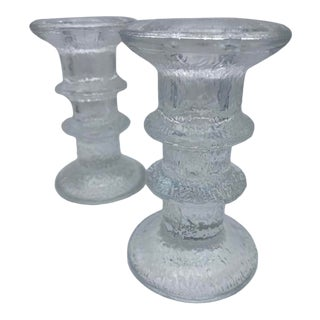 "Mid Century Timo Sarpaneva for Iittalia Glass ""Festivo"" Candlestick Holders - Pair For Sale"