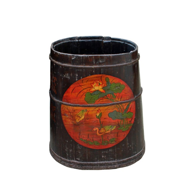 Black Distressed Chinese Tibetan Barrel Shape Black Floral Bucket Wood Container For Sale - Image 8 of 8