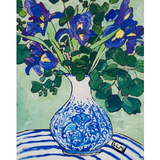 """""""Delft Vase With Iris Bouquet"""" Contemporary Floral Still Life Painting"""