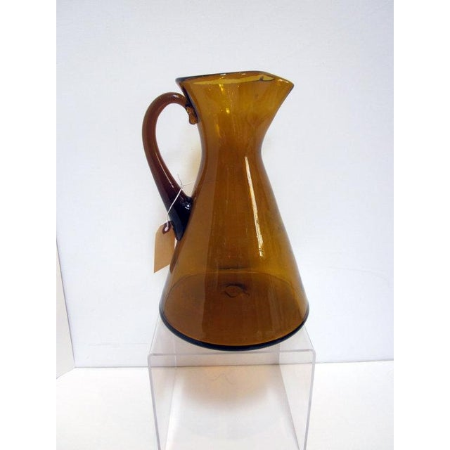 Modernist Amber Blenko Glass Vase Pitcher - Image 5 of 5