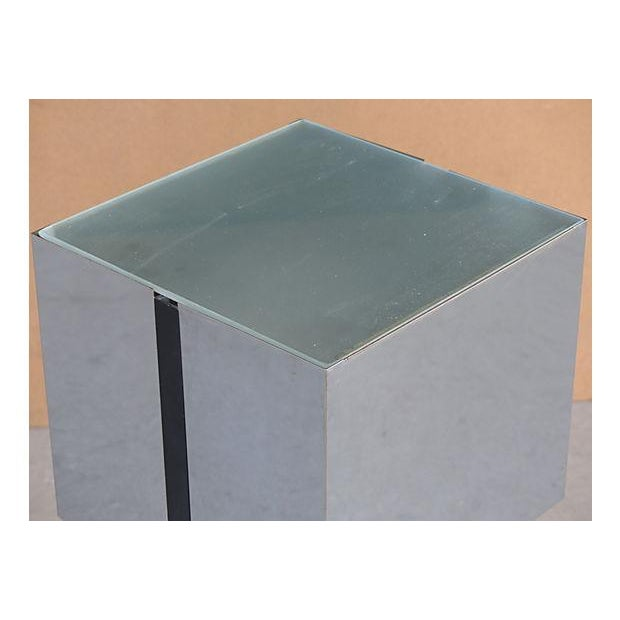 Metal George Kovacs Chrome & Black Angled Lighted Pedestal For Sale - Image 7 of 10
