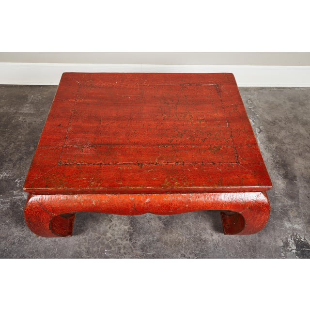 Paint 19th C. Red Crackle Lacquer Kang Table For Sale - Image 7 of 8