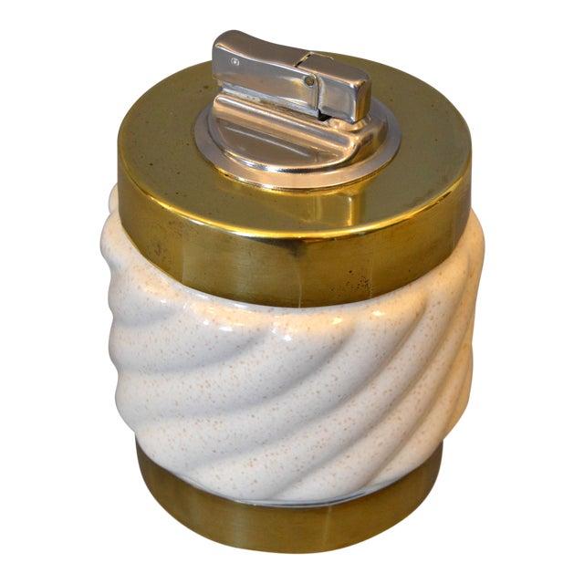 Mid-Century Modern Tommaso Barbi Beige Ceramic & Brass Lighter Italy, Signed For Sale