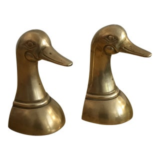 Vintage Leonard Mid Century Solid Brass Mallard Duck Head Bookends - a Pair For Sale