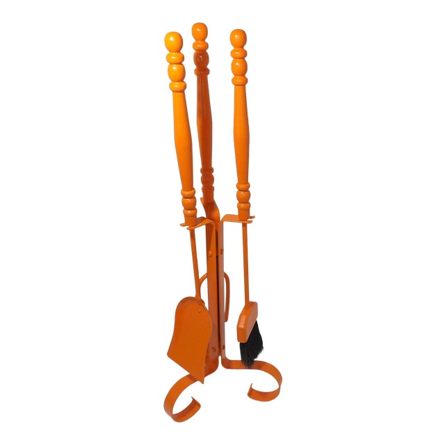 Orange Mid Century Modern Fireplace Tool Set For Sale