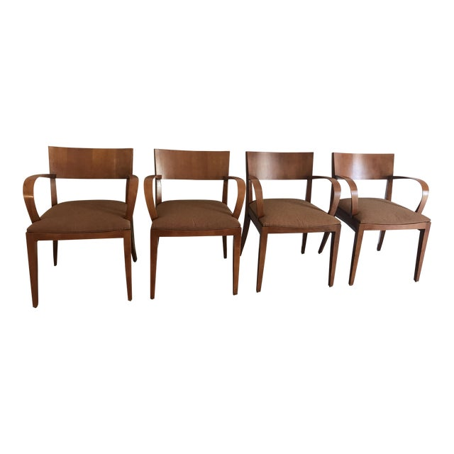 Knoll Crinion Cherrywood Ribbon-Band Arm Side Chairs - Set of 4 For Sale