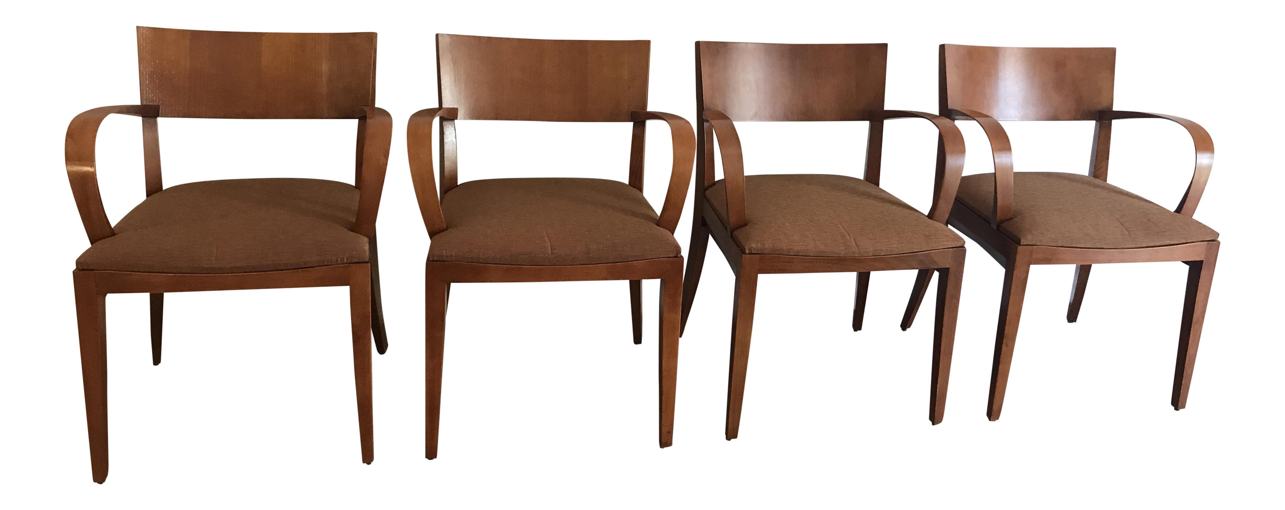 Charming Knoll Crinion Cherrywood Ribbon Band Arm Side Chairs   Set Of 4