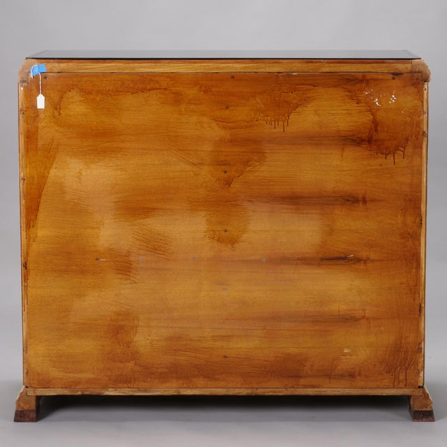 Reeded Maple Cabinet with Rosewood Trim and Black Glass For Sale - Image 12 of 13