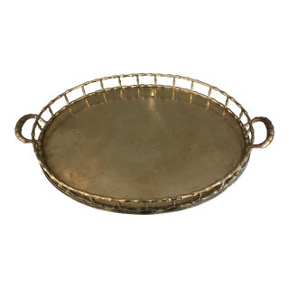Large Brass Faux Bamboo Oval Tray - Gucci Style For Sale