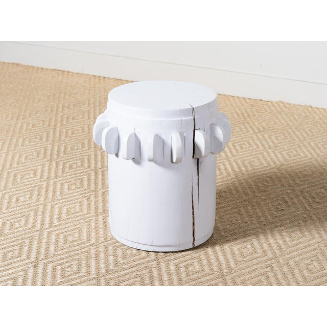 White Grinder Wooden Side Table For Sale - Image 6 of 6