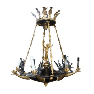 1940s French Empire Style Figural Bronze 8 Light Neoclassical Chandelier Angels Lustre For Sale