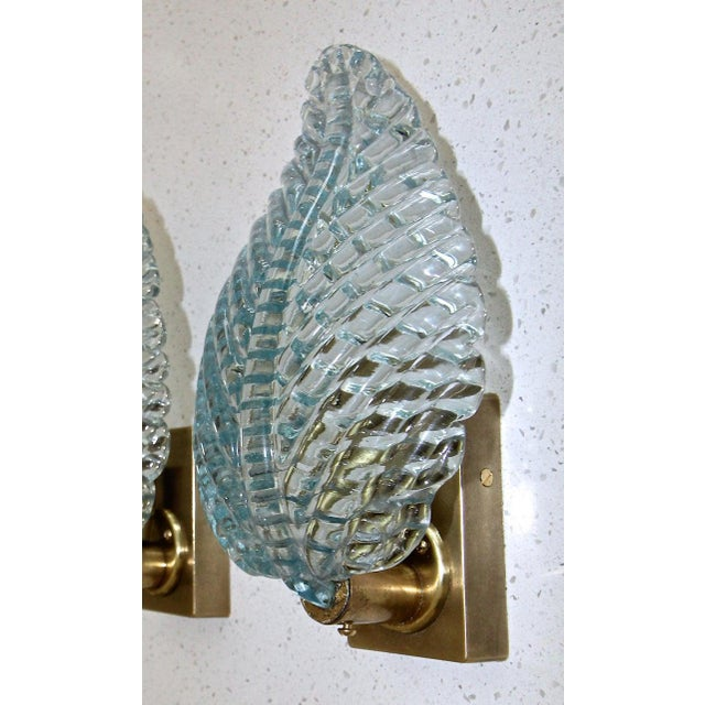 1950s 1950s Barovier Murano Aqua Blue Leaf Glass Wall Sconces - a Pair For Sale - Image 5 of 12