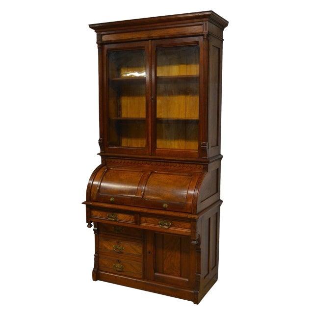 Antique 1800 S Victorian Walnut Secretary Cylinder Roll Top Desk W Bookcase