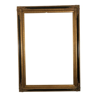 Antique French Style Gold Wood and Black Enamel Frame For Sale