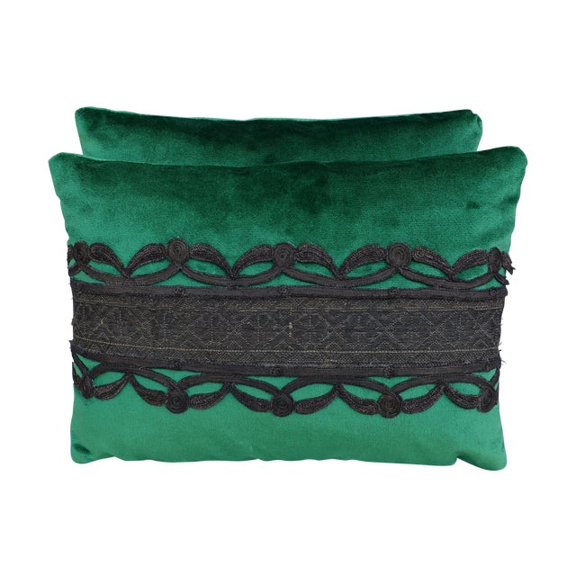 Green Silk Velvet Pillows With Metallic Trim- Pair - Image 1 of 3