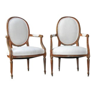 Louis XVI Style Fauteuil Armchairs in French Linen - a Pair