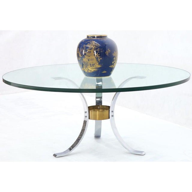 "Mid-Century Modern round chrome and brass base glass top coffee table. Thick 3/4"" glass top."