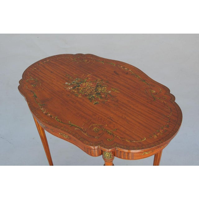 Exquisite Hand Painted Satinwood Table For Sale - Image 9 of 10