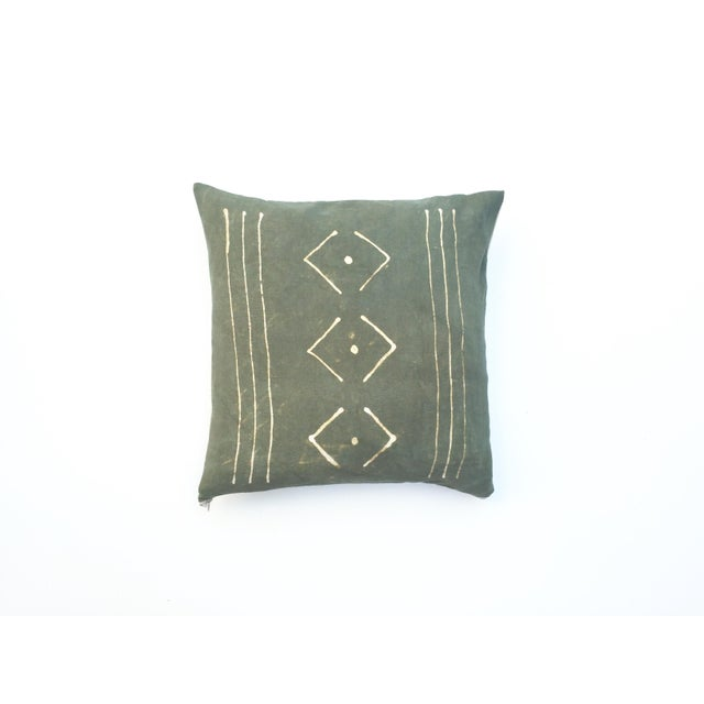 Hand-Dyed Dark Green Tribal Pillow Cover - Image 2 of 7
