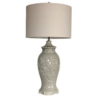 Vintage Gray Chinoiserie Table Lamp