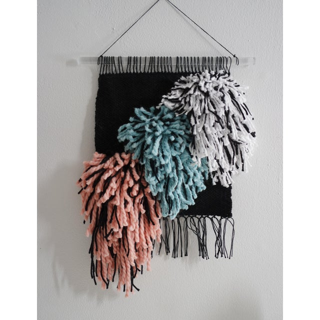 Handwoven Black, Turquoise & Light Coral Wall Hanging - Image 2 of 3