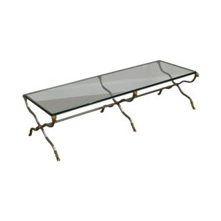 French Directoire Steel Brass & Glass Rams Head Coffee Table - Maison Jansen For Sale