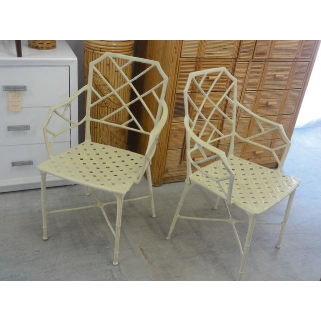 Beige Brown Jordan Calcutta Faux Bamboo Chairs - a Pair For Sale - Image 8 of 8