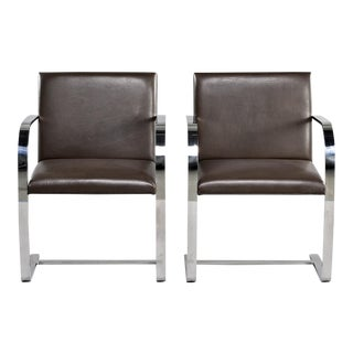 Pair of Knoll Bruno Flat Bar Chairs With Leather Upholstery For Sale