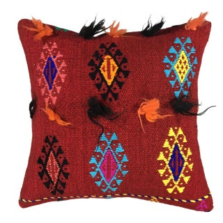 "Electric Funk Vintage Kilim Pillow | 16"" For Sale"