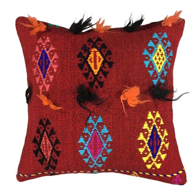 "Electric Funk Vintage Kilim Pillow   16"" For Sale"
