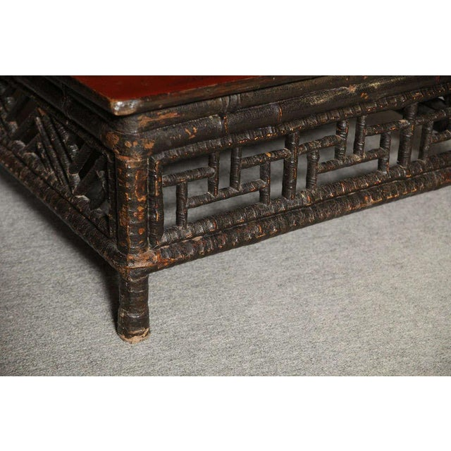 Small 19th Century Chinese Bamboo with Red Lacquered Top Coffee Table For Sale - Image 4 of 11