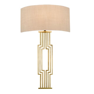 Provence Brass Wall Light with Linen Shade For Sale