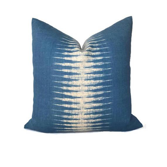 Indigo Blue Ikat Pillow Cover For Sale - Image 4 of 4