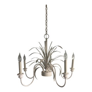 Italian Inspired White Tole Chandelier