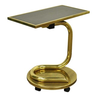 Vintage Paul Tuttle Mid Century Modern Brass Revolving Tray Top Anaconda Side Table For Sale