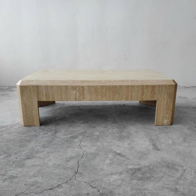 Angelo Mangiarotti Rectangular Post-Modern Italian Travertine Coffee Table For Sale - Image 4 of 8