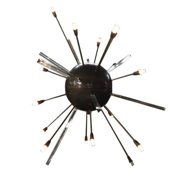 Fabulous Copper & Glass Rod Sputnik Chandelier For Sale