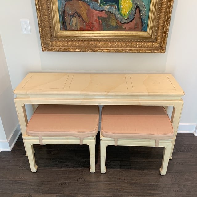 1970s Vintage Ming Style Henredon Console Table & Stools- 3 Pieces For Sale - Image 5 of 13