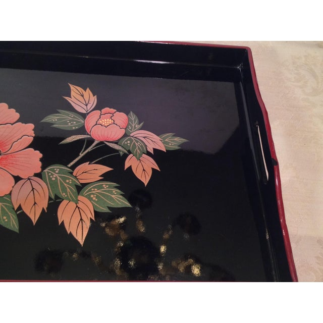 Pink Mid-Century Modern Japanese Lacquer Tray With Floral Design For Sale - Image 8 of 11