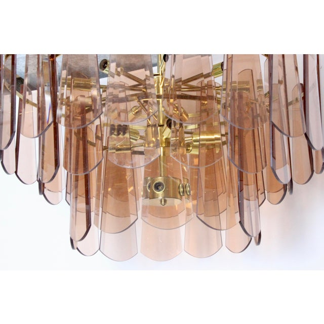 Mid 20th Century Vintage Mid-Century Modern Modern Blush Pink Glass Gold 15 Light Chandelier For Sale - Image 5 of 8