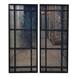 French Restoration Uttermost Antiqued Windowpane Wall Mirrors - a Pair For Sale