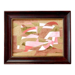 Contemporary Mid-Century Cubist Style Abstract Painting in Pink and Gold For Sale