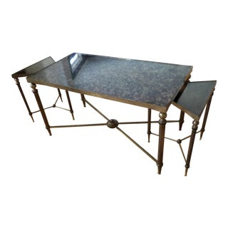 Maison Jansen Style Brass & Distressed Mirrored Coffee Table For Sale