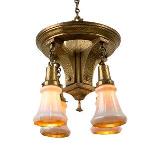 Stunning Brass Arts & Crafts Chandelier W/ Art Glass Shades Circa 1915