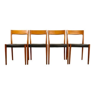 Mid Century Modern Teak and Leather Dining Chairs- Set of 4 For Sale