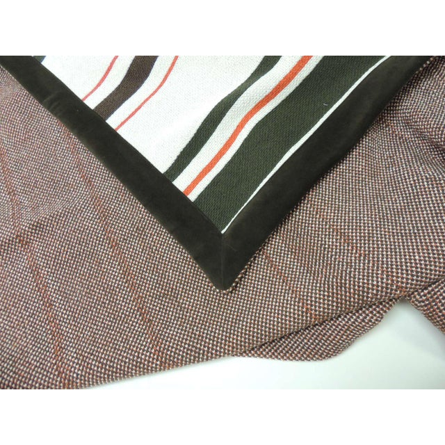 Modern Large Brown and Orange Stripes Allessandra Branca Throw For Sale - Image 3 of 6