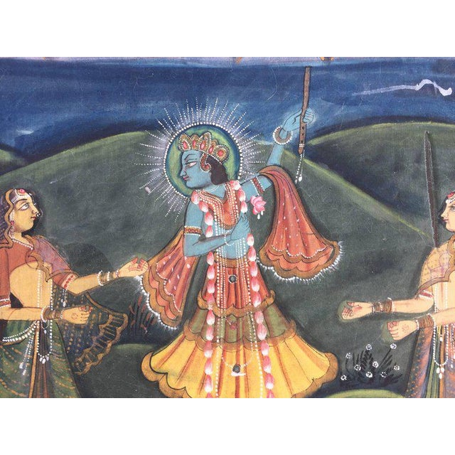 Large Colorful Pichhavai Silk Asian Painting With Krishna and Female Gopis For Sale In Los Angeles - Image 6 of 11